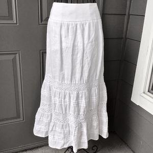 J Jill 100% Linen White Tiered Maxi Skirt